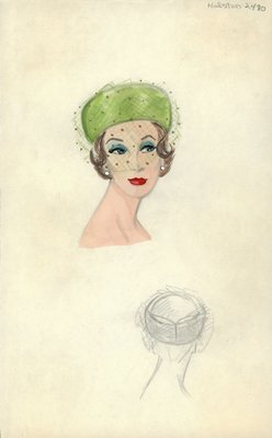 Halston green pillbox with veil