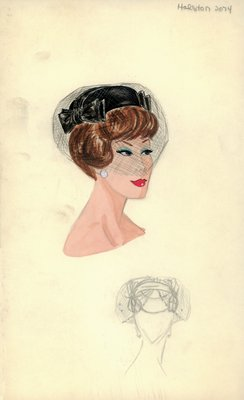 Halston black pillbox with veil