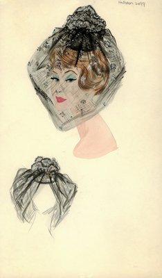 Halston black doll hat with beaded veil