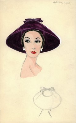 Halston purple velvet coolie hat