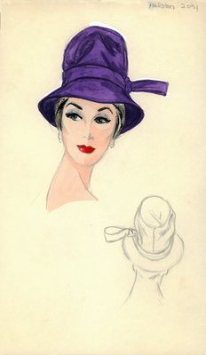 Halston purple brimmed hat