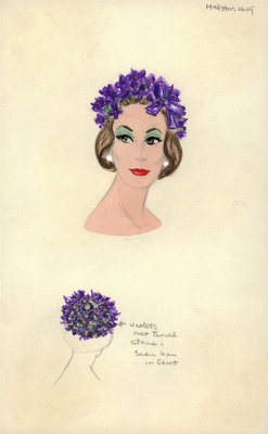 Halston skullcap of violets and stems