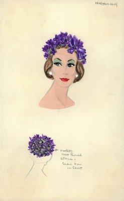 Halston skullcap of violets and stems
