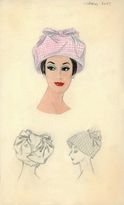 Halston pink and white checked fabric hat