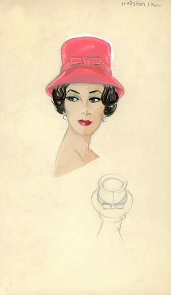 Halston coral hat with bows