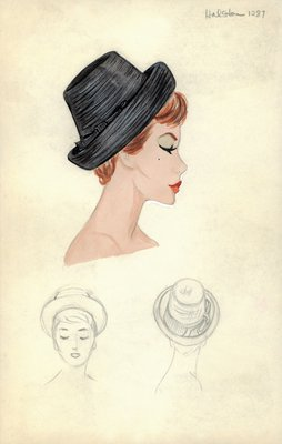 Halston black straw hat