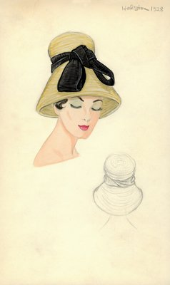 Halston straw funnel-shaped hat