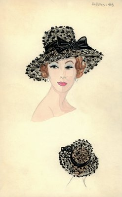 Halston black hat with dotted net