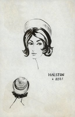 Halston straw pillbox