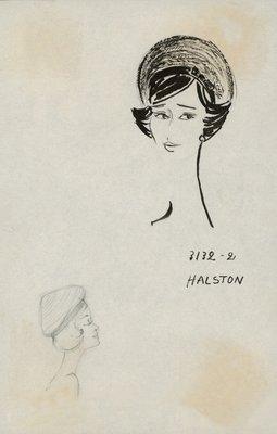Halston straw beret