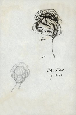 Halston mob cap of dotted net