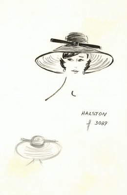 Halston straw cartwheel with bow