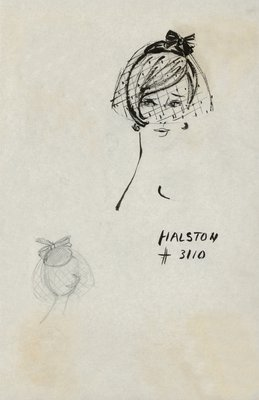 Halston doll hat with veil