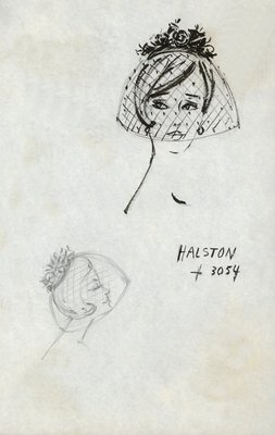 Halston doll hat with veil and flowers