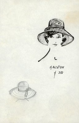 Halston straw picture hat