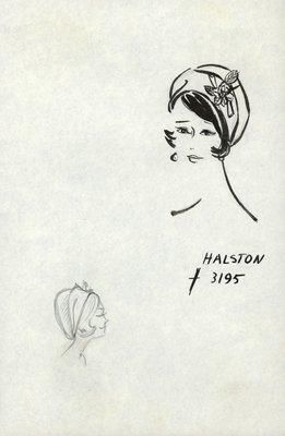 Halston bubble beret with rose