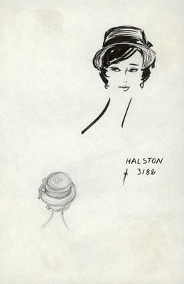 Halston straw sailor with bow