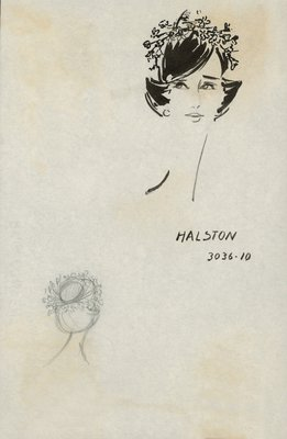 Halston doll hat with blossoms