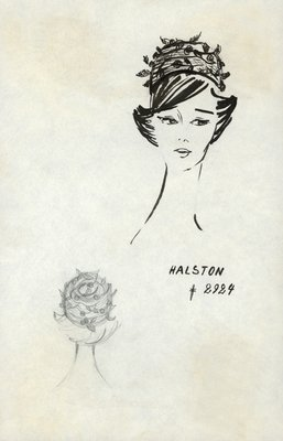 Halston straw pillbox with cherries