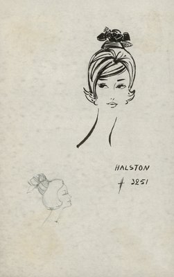 Halston doll hat with rose and bow