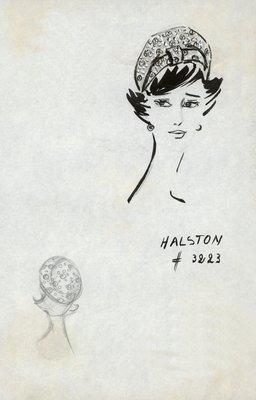 Halston printed fabric beret