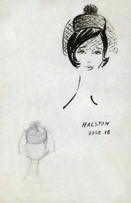 Halston straw pillbox with rosette and veil