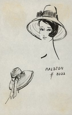 Halston straw hat with side bow