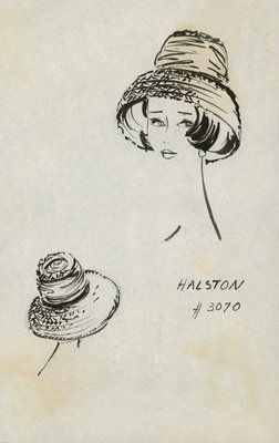 Halston textured straw hat