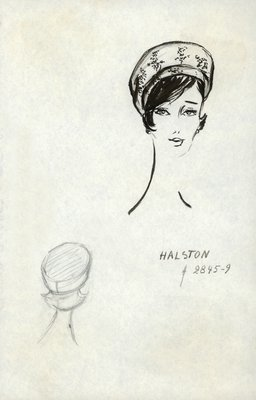 Halston printed fabric toque