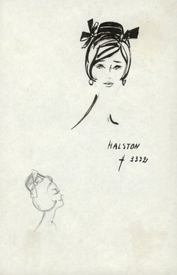 Halston doll hat with bows