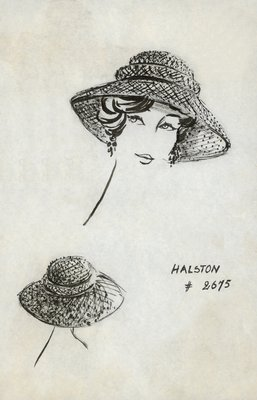 Halston picture hat of dotted net