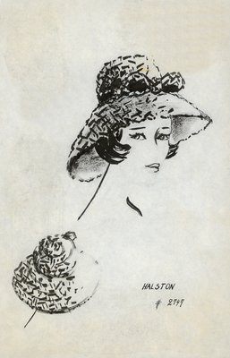 Halston textured straw picture hat