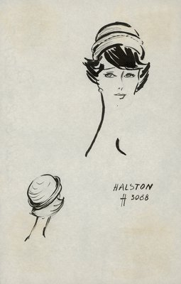 Halston straw toque