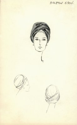 Halston black turban