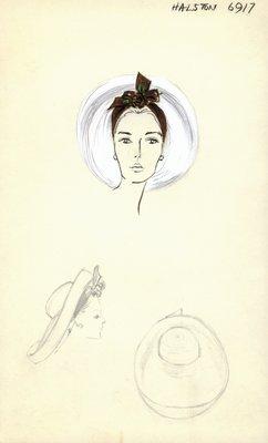 Halston white straw cartwheel with rose