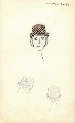 Halston houndstooth Tyrolean hat