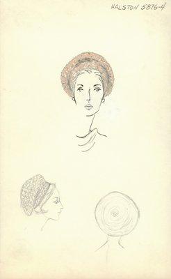 Halston beige knit beret