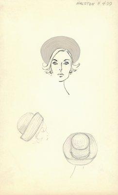 Halston gray hat with wide brim