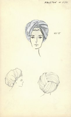 Halston white pleated turban