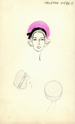 Halston pink straw bubble toque