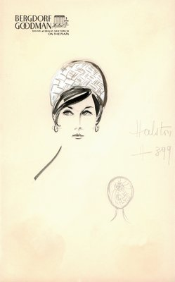 Halston white straw toque