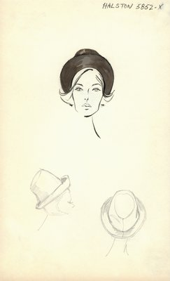 Halston black hat with brim