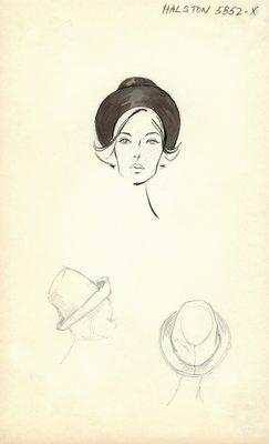 Halston black hat with brim