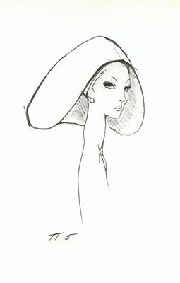 Halston wimple-shaped hat