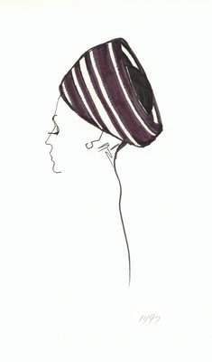 Halston striped toque