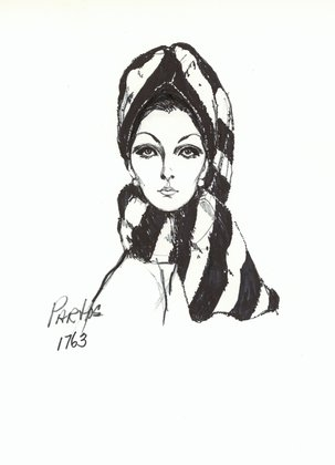 Halston Striped Fur Toque