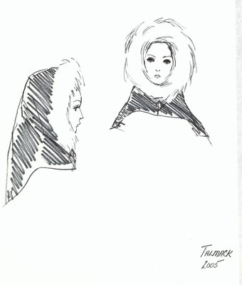 Halston hood with white fur trim