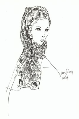 Halston floral printed toque with scarf