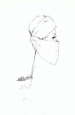 Halston white mink toque