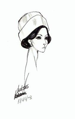 Halston hat with wide brim